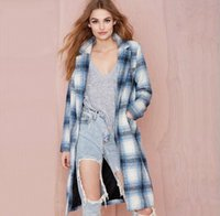 Wholesale A buckle collar suit and long coat tartan child coat jacket Woolen Sky blue The new European and American women s coat