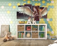 angels decorative arts - Modern Piece Canvas Art Wall Decoration Painting Custom Canvas Angel Decorative Picture Digital Printing for Kid s Room Decor
