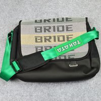 Wholesale 2016 High Quality car JDM Bride TAKATA Fabric Backpack Shoulder Bag With Racing Harness green straps