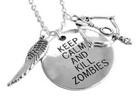 american kill - New Arrival American Tv Series Walking Dead Daryl Crossbow Wing Charm Pendant Necklace Keep Calm Kill Zombies for Unisex