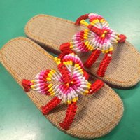 bamboo wedge heels - Summer Chinese knot line pure manual weaving bamboo sole men s and women s slippers