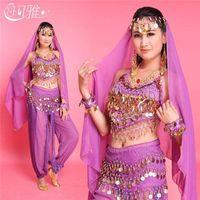 bellydance tops - Top Pant Belt Veil for Head Belly Dance Costumes for Women Oriental Dance Costumes Handmade Bellydance Dress Colors SET