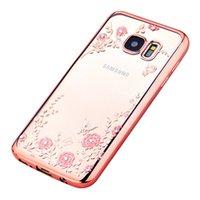 Secret Garden Flower Алмазный Bling кожа Chrome Clear гель ТПУ обложка чехол для Samsung Galaxy S5 S6 EDGE Plus Note5 Примечание4 Note3