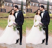 bead ideas - Chic Two Pieces Long Sleeve Beach Wedding Dress Separate Ideas For Unique Brides Puffy skirt Country Cheap Wedding Gown
