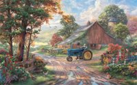 american country barns - 24X36 INCH ART SILK POSTER Paintings Summer heritage Thomas Kinkade Kinkade farm summer tractor man barn