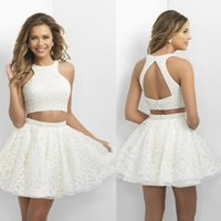 Wholesale 2017 New Design White And Short Homecoming Dresses Halter Backless Two Pieces Party Gowns A line Major Beaded Lace Homecoming Dresses Cheap