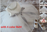 Wholesale EMS DHL Free High Qualit Christening dresses White Lace Tulle Baby Girl Dress Princess Pearl Ball Gown Party Wedding Girls Dresses for M