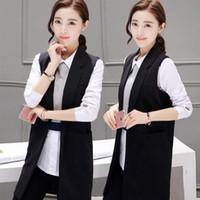 Wholesale Fashion Women black Lapel Neck long vest coat Europen style waistcoat sleeveless jacket back split outwear casual top Roupa Female
