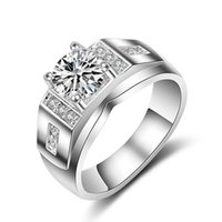 Wholesale 1 CT Genuine SONA Synthetic Diamond Wedding Engagement Ring for Men and Women Silver K Drop Shipping