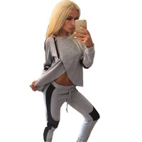 Wholesale 2016 Fashion Womens Spring and Autumn Casual Zipper Patchwork Two Pieces Sports Suits Sexy Hoodies