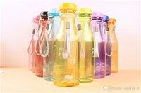 Wholesale 9 Colors Plastic cup Man Women s Fashion Portable sports bottle Transparent candy color