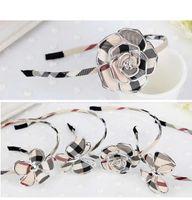 Wholesale Elegant Headbands for girls plaid check headband designs flower bowknot headband korean hair accessories hairband headdress