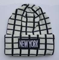 Wholesale creamy white black Plaid Men New York letters Knit Beanie Hats Quality Winter Beanies Caps Ski Caps Women Autumn Beanie Hat colors HFMY