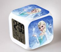 Wholesale Frozen Movie Princess Anna Elsa AG13 Batteries LED reloj despertador Kids LED Color Flash Digital Alarm Clocks Watch