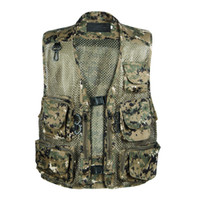 Wholesale Fall NEW Summer Outdoor Tactical Camouflage Mesh Vest Multi Pockets Camo Fish Hunting Vest Shooting Sport Waistcoat Sleeveless Jacket