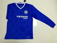 Wholesale 16 Long sleeve Chelseas home and away soccer jerseys Hazard Fabregas Terry Diego Costa Kante football jerseys