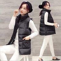 Wholesale Women Down Cotton Vest Autumn Winter New Arrive Fashion Straight Collar Short Section Slim Cute Vest Fashion waistcoat Plus size L XL