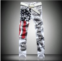 american flag spandex pants - 2016 new jogging American flag painted jeans brand jeans men straight men s casual pants men s denim trousers micro bomb SIZE