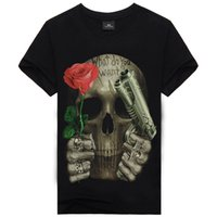 Wholesale Men s Cool D Print Skull Cotton T Shirt Men Gun Tshirt Clothes Causul T Shirts