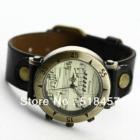 antique sheet glass - Casual Sheet Music Vine Watch Women Quartz Alloy Dial Ladies Analog Antique Leather Girl Stylish Wristwatchew