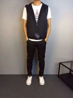 Wholesale 2016 Men s Vest Casual Slim Mens vest black
