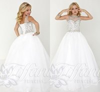 Cheap Teen White Pageant Gown Princess Kids Pageant dresses 2016 Custom Make Amazing Beaded Detail Lace-up Little Girl Occasion Dress