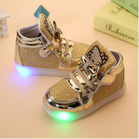Wholesale Children Shoes New Spring Hello Kitty Rhinestone Led Shoes Girls Princess Cute Shoes With Light EU