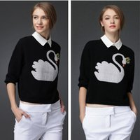 animal print sweaters for women - White Swan Pattern Short Sleeve Cashmere Pullover Sweater For Ladies Autumn Winter Knitted Outwear Fashion Sweater Pullover Cashmere MY002