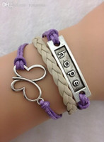 Wholesale Purple Khaki Antique Silver Wax Cord Bracelet Hope Butterfly Charm Bracelet Wire Bracelet Braidedgift Min order