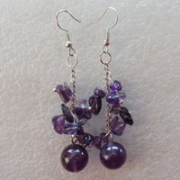 amethyst chip earrings - Interesting Amethyst Round Beads chips Earring