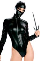 adult leotard - Halloween Costume Sexy Womens PU Leather Bodysuit Wet Look Long Sleeve Zip Teddy Leotard Jumpsuit Adult Size M