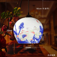 Wholesale Chinese White And Blue Ceramic Big Ball Style Pendant Lamp Living Room Pendant Lighting For Restaurants Indoor Hanging Lamp