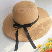 Wholesale DHL free Fashion Summer Khaki Women Cap Straw Beach Hat Black Curl Ribbon Roll up Trim Sun Flobby Women Hat