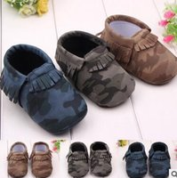 Wholesale Baby Boys Girls Shoes Army Camouflage PU Leather Shoes Newborn Baby Moccasins Kids Soft Soled Infant Tassels Shoes hight quality free shippi