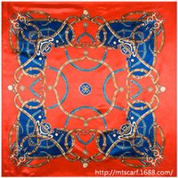 Cheap National Bohemian Style Chain Painted color matching women silk satin large square scarf 90cm*90cm