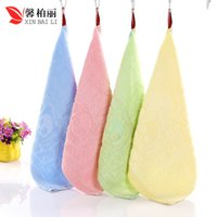beautiful bamboo fiber - Factory Direct Pure Bamboo Fiber Towel Bamboo Bear Beautiful Jacquard Soft Jacquard Towel Small Square Red Blue Scarf HY1221