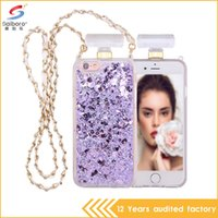 Wholesale Saiboro Case for Apple iPhone s s Plus sPlus Luxury Flowing Liquid Perfume Bottle Design Elegant Glitter Quicksand Phone Cover