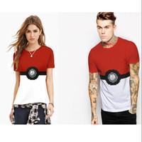 active coupling - Poke womens D print T shirts man poke t shirt short sleeves Poke Ball Digital Printing Tops Couple Clothes
