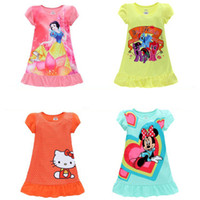 Wholesale Summer Girls Dresses Mermaid Sofia Snow White Minnie my little pony kids pajamas Polyester Nightgowns Sleepwear Clothes T