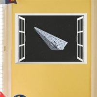 Wholesale Star War newest movie Force Awakens Star Destroyer d window spaceship spacecraft home decal wall stickers for boys kids room