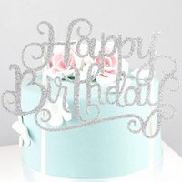 Wholesale Glitter Gold Silver Happy Birthday Party Cake Topper Decoration for kids birthday party favors baby decorating Cake Accessory