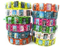 Wholesale Brand New mixed Kids Children s Cute Cartoon Wooden Stretch Cuff Bracelets Party Gift