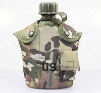 aluminum water canteen - 1L canteen Field Game bottle aluminum lunch box For outdoor Sports Field game camouflage camping cooking sets old style kettle