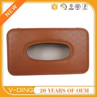 Wholesale v ding from China professional supplier of high quality automotive leather Visor hanging brown diamond embossed tissue box cover for car