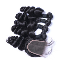 Wholesale 7A High Quality Brazilian Indian Malaysian PeruvianLoose Wave with Loose Wave closure No Tangle No Shedding Soft Full DHL