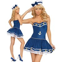 adult party hats - Navy Sailor Costume Adult Women Sexy Popular Dress With White Hat For Halloween Cosplay Party Stage Show Navy Clothing