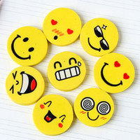 Wholesale Cute Smiling Face Eraser High Quality Pencil Rubber Eraser School Office Supplies Papelaria