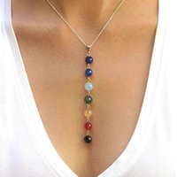 Gros-1PC femmes Lady 7 Chakra Perles Pendentif Collier chaîne Yoga <b>Reiki Healing</b> Jewelry Équilibrer