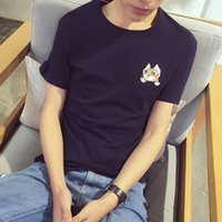 Wholesale Summer new embroidery short sleeve T shirt men s clothing Han edition shirt collar youth men s cultivate one s morality half sleeve shirt re