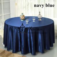 al por mayor azul marino azul paños de mesa-Azul marino 10pcs color redondo de raso paño de tabla \ Mantel boda del envío